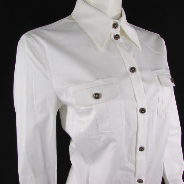 White Cotton Blouse Button Up Long Sleeves Escada Classic Women Elegant Dressy New Fashion Size 4