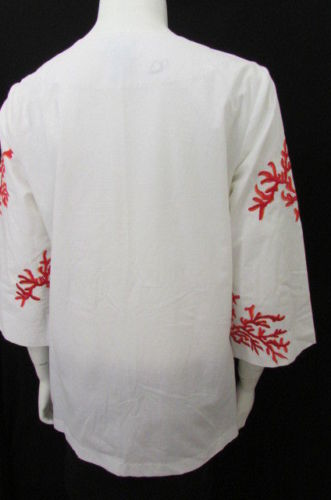 White Cotton Long Sleeves Shirt India Red Deep V-Neck Blouse TS Dixin Women New Fashion Size Medium