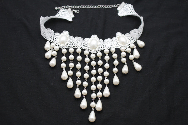 White Lace Fabric Goth Choker Necklace Cream Imitation Pearl Beads New Women Fashion Accessories