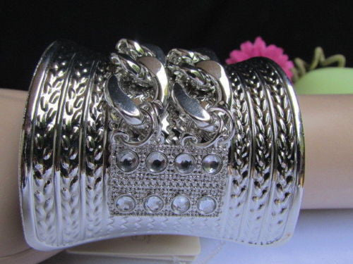 Gold / Silver Metal Chains Wide Cuff Bracelet Side Rhinestones New Women Fashion Jewelry Accessories - alwaystyle4you - 13