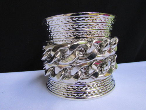Gold / Silver Metal Chains Wide Cuff Bracelet Side Rhinestones New Women Fashion Jewelry Accessories - alwaystyle4you - 3