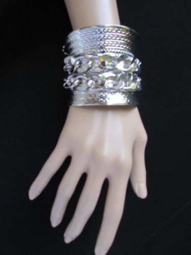Gold / Silver Metal Chains Wide Cuff Bracelet Side Rhinestones New Women Fashion Jewelry Accessories - alwaystyle4you - 7