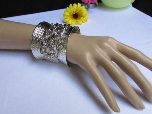 Gold / Silver Metal Chains Wide Cuff Bracelet Side Rhinestones New Women Fashion Jewelry Accessories - alwaystyle4you - 8