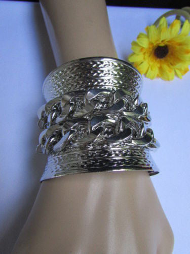 Gold / Silver Metal Chains Wide Cuff Bracelet Side Rhinestones New Women Fashion Jewelry Accessories - alwaystyle4you - 11