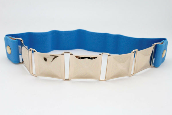 Blue Color Stretch Bling Belt Gold Metal Square Buckle Hip Waist New Women Accessories Size S M