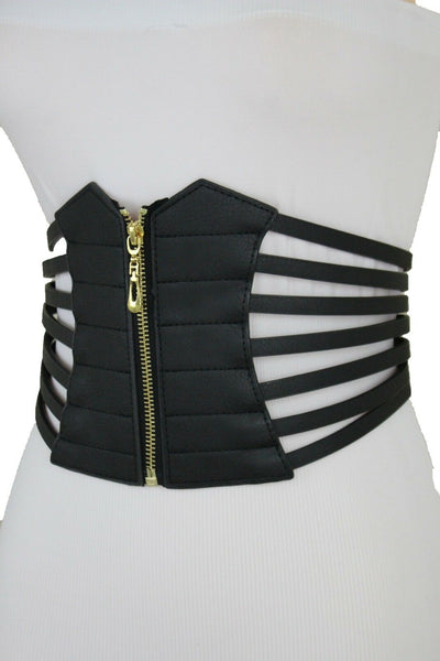 Black Women Corset Fashion Belt Elastic Wide Stretch Waistband Hip High Waist M L