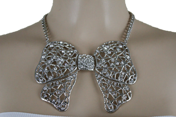Women Fancy Fashion Necklace Set Silver Metal Chain Bow Tie Bling Ribbon Pendant