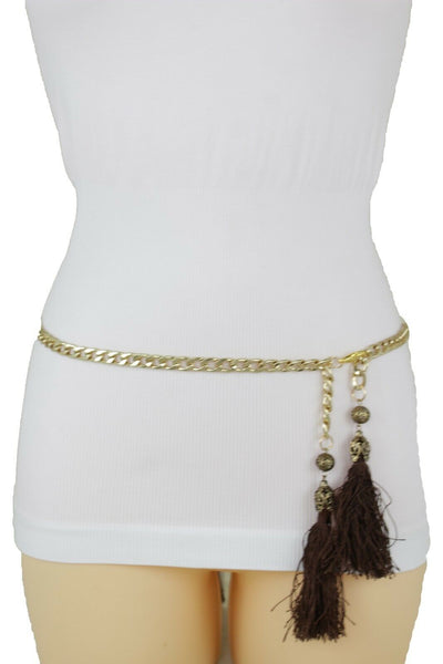 Women Fashion Belt Gold Metal Chain Hip Waist Long Brown Fringes Tassel XS S M