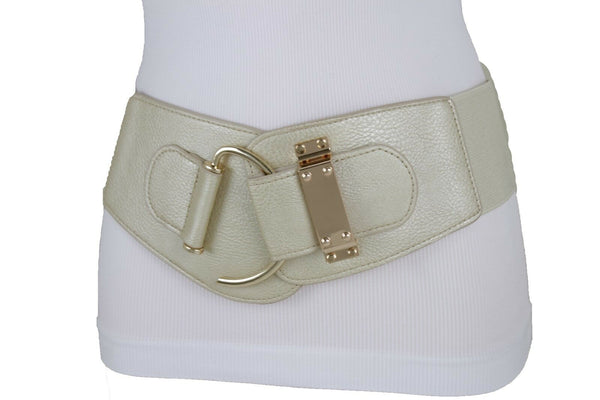 Women Fashion Wide Elastic Champagne Belt Hip Waist Gold Metal Hook Buckle S M