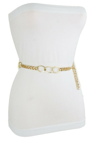 Women Gold Metal Chain Dressy Skinny Waistband Narrow Belt Hip Waist Size M L XL