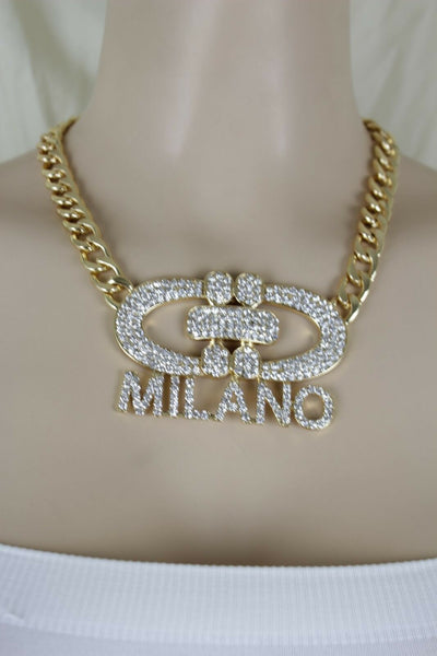 Women Gold Metal Chain Short Fashion Jewelry Necklace Milano Italy Pendant Bling