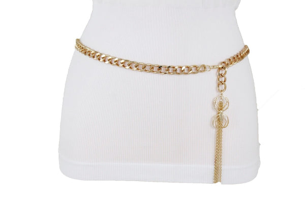 Women Gold Metal Chain Skinny Hip Waist Fashion Belt Spider Fringes Charm XS S M
