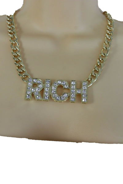 Women Gold Metal Fashion Necklace Chunky Chain Link Jewelry RICH Bling Hip Hop