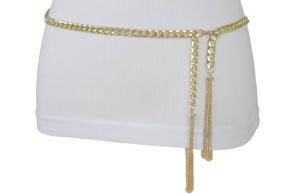 New Women Gold Metal Chain Hip Waist Fashion Dressy Narrow Bling Belt Plus Size