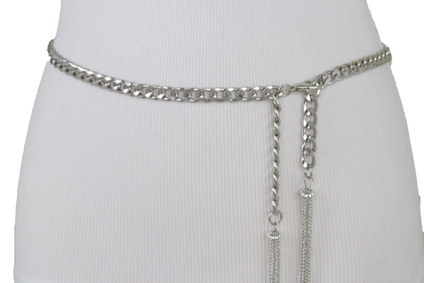New Women Silver Metal Chain Hip Waist Fashion Dressy Narrow Bling Belt Plus Size