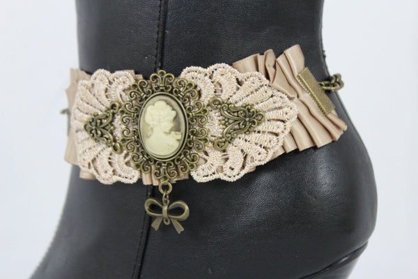 Antique Gold Chain Boot Beige Lace Fabric Strap Western Shoe Steam Punk Rock Bow New Women Fashion Accessories