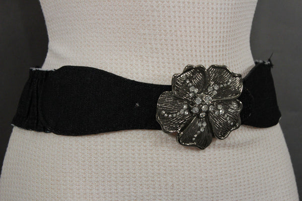 BLack / Light Blue Denim Fabric Belt Silver Big Flower Metal Statement Buckle New Women Fashion Accessories Size XS S - alwaystyle4you - 13