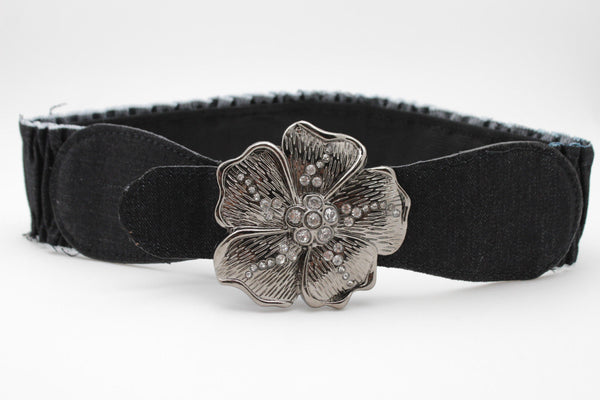 BLack / Light Blue Denim Fabric Belt Silver Big Flower Metal Statement Buckle New Women Fashion Accessories Size XS S - alwaystyle4you - 5