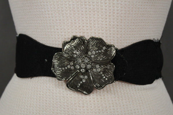 BLack / Light Blue Denim Fabric Belt Silver Big Flower Metal Statement Buckle New Women Fashion Accessories Size XS S - alwaystyle4you - 10