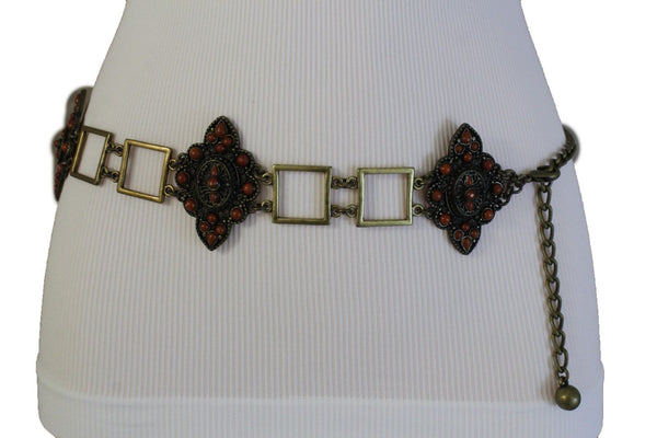 Women Belt Antique Gold Hip Waist Multi Squares Brown Flower Charm Ethnic Style Fashion S M L