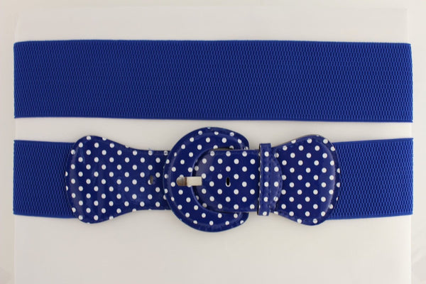 Black Blue Blue Royal Red White Low Hip / High Waist Stretch Wide Elastic White Polka Dots Stretch Belt New Women Fashion Accessories - alwaystyle4you - 54
