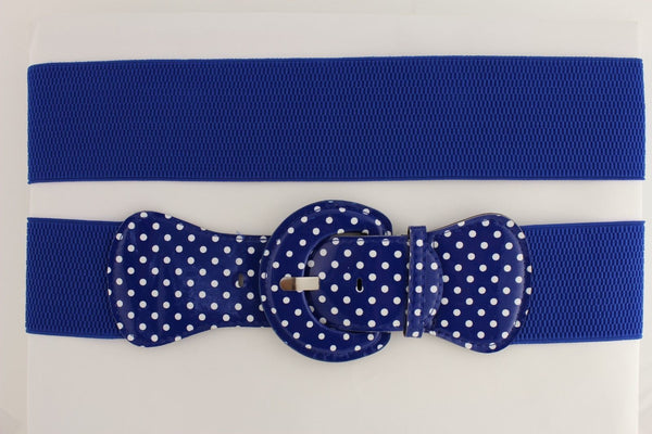 Black Blue Blue Royal Red White Low Hip / High Waist Stretch Wide Elastic White Polka Dots Stretch Belt New Women Fashion Accessories - alwaystyle4you - 5
