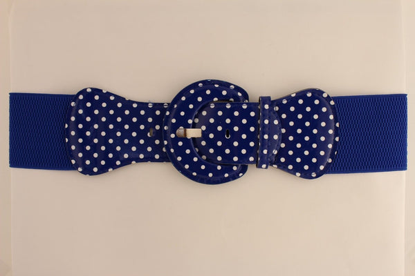 Black Blue Blue Royal Red White Low Hip / High Waist Stretch Wide Elastic White Polka Dots Stretch Belt New Women Fashion Accessories - alwaystyle4you - 51