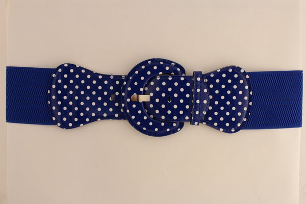 Black Blue Blue Royal Red White Low Hip / High Waist Stretch Wide Elastic White Polka Dots Stretch Belt New Women Fashion Accessories - alwaystyle4you - 53