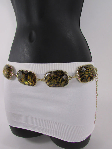 Gold / Silver Metal Chain Hip Waist Belt Zebra Print Charms New Women Fashion Accessories XS S M L - alwaystyle4you - 24
