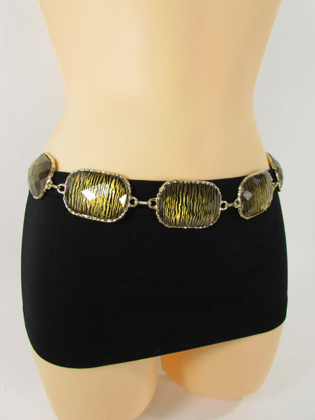 Gold / Silver Metal Chain Hip Waist Belt Zebra Print Charms New Women Fashion Accessories XS S M L - alwaystyle4you - 16