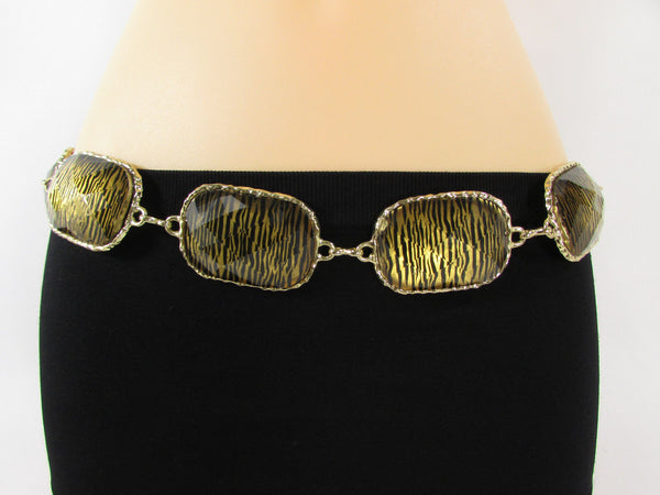 Gold / Silver Metal Chain Hip Waist Belt Zebra Print Charms New Women Fashion Accessories XS S M L - alwaystyle4you - 18