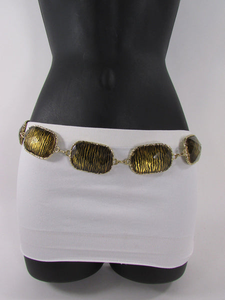 Gold / Silver Metal Chain Hip Waist Belt Zebra Print Charms New Women Fashion Accessories XS S M L - alwaystyle4you - 19