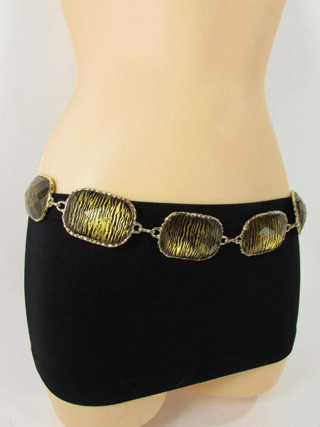 Gold / Silver Metal Chain Hip Waist Belt Zebra Print Charms New Women Fashion Accessories XS S M L - alwaystyle4you - 23