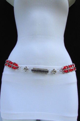 Silver Metal Chains Black Blue Red Orange Yellow Green Shiny Fabric + Rhinestones Hip High Waist Thin Belt New Women Fashion Accessories S - XL - alwaystyle4you - 5