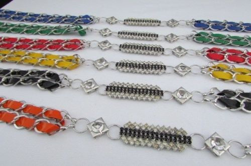 Silver Metal Chains Black Blue Red Orange Yellow Green Shiny Fabric + Rhinestones Hip High Waist Thin Belt New Women Fashion Accessories S - XL - alwaystyle4you - 2