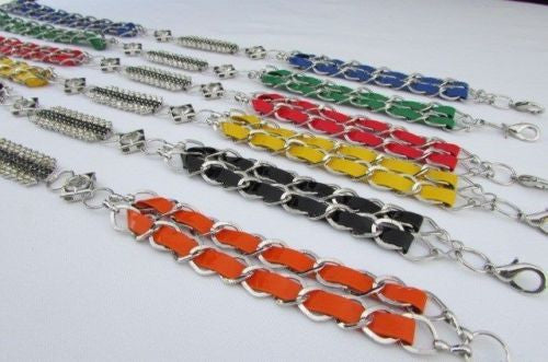 Silver Metal Chains Black Blue Red Orange Yellow Green Shiny Fabric + Rhinestones Hip High Waist Thin Belt New Women Fashion Accessories S - XL - alwaystyle4you - 22