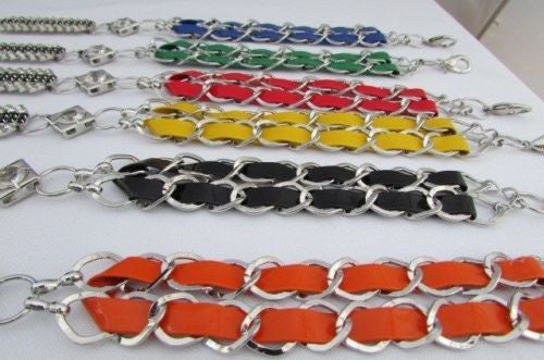 Silver Metal Chains Black Blue Red Orange Yellow Green Shiny Fabric + Rhinestones Hip High Waist Thin Belt New Women Fashion Accessories S - XL - alwaystyle4you - 24