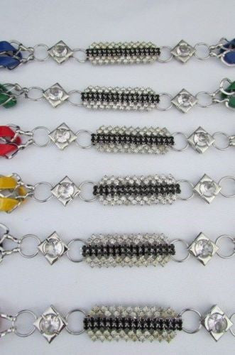 Silver Metal Chains Black Blue Red Orange Yellow Green Shiny Fabric + Rhinestones Hip High Waist Thin Belt New Women Fashion Accessories S - XL - alwaystyle4you - 25