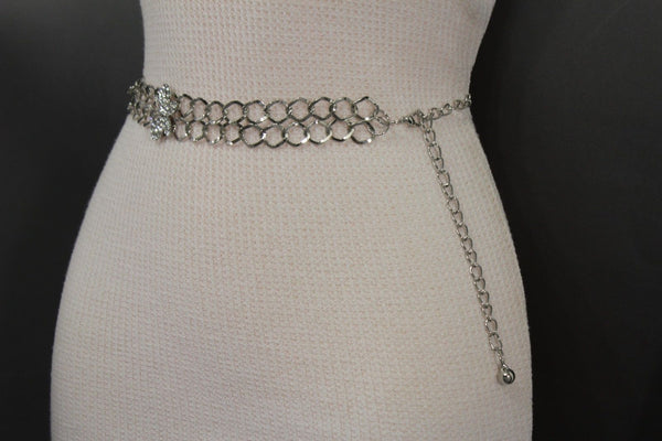Silver Metal Chain Links Hip High Waist Belt Butterfly Charms New Women Fashion Accessories Size S M L - alwaystyle4you - 6