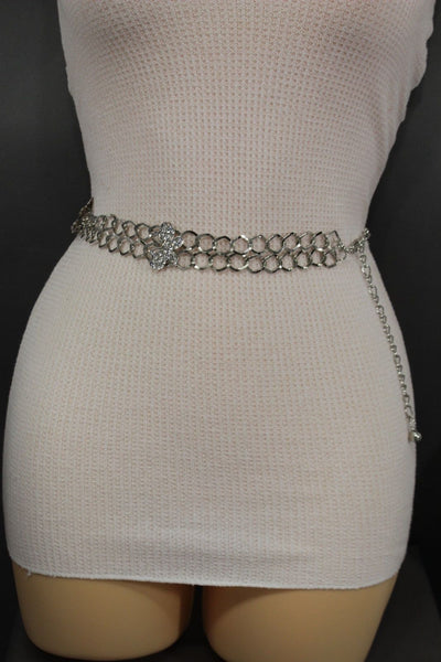 Silver Metal Chain Links Hip High Waist Belt Butterfly Charms New Women Fashion Accessories Size S M L - alwaystyle4you - 7