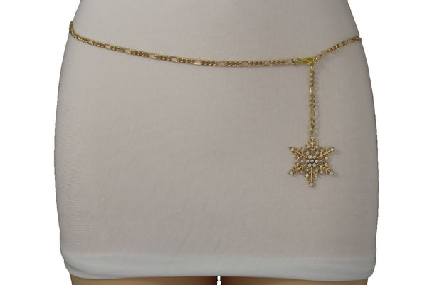 Silver Metal Chain Belt Christmas Winter Snow Flake Charm Hot Women Fashion Accessories XS-M & Plus Size M-XL - alwaystyle4you - 2