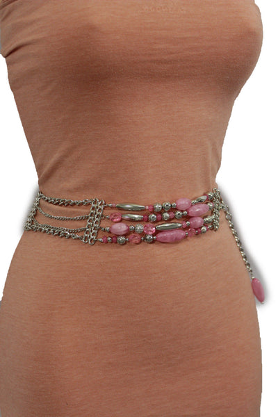 Silver Metal Multi Chains Hip Waist Belt Long Pink Bead Charms New Women Fashion Accessories Plus Size M L XL - alwaystyle4you - 5