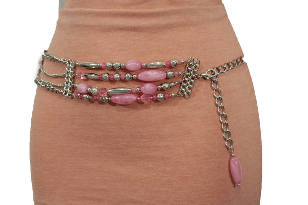 Silver Metal Multi Chains Hip Waist Belt Long Pink Bead Charms New Women Fashion Accessories Plus Size M L XL - alwaystyle4you - 1