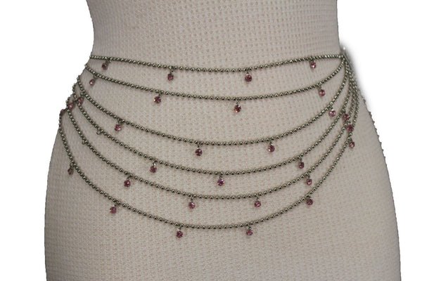Silver Metal Chain Waist Hip 6 Strands Belt Pink Rhinestones New Women Fashion Accessories XS S M