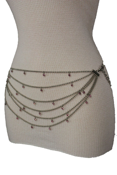 Silver Metal Chain Waist Hip 6 Strands Belt Pink Rhinestones New Women Fashion Accessories XS S M - alwaystyle4you - 3