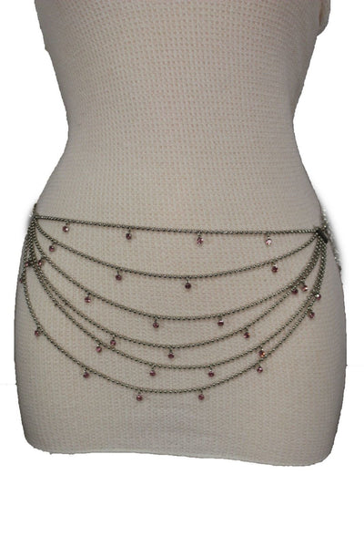 Silver Metal Chain Waist Hip 6 Strands Belt Pink Rhinestones New Women Fashion Accessories XS S M - alwaystyle4you - 6