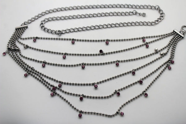 Silver Metal Chain Waist Hip 6 Strands Belt Pink Rhinestones New Women Fashion Accessories XS S M - alwaystyle4you - 8