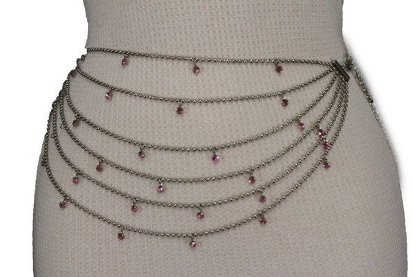Silver Metal Chain Waist Hip 6 Strands Belt Pink Rhinestones New Women Fashion Accessories XS S M - alwaystyle4you - 9