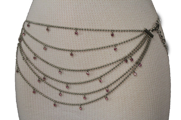 Silver Metal Chain Waist Hip 6 Strands Belt Pink Rhinestones New Women Fashion Accessories XS S M - alwaystyle4you - 12