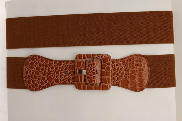 Beige Orange Black Brown Blue Light Blue White Red Purple Pink Gold Green Elastic Stretch Hip High Waist Belt Big Square Buckle New Women's Fashion Accessories XS S M L XL - alwaystyle4you - 124